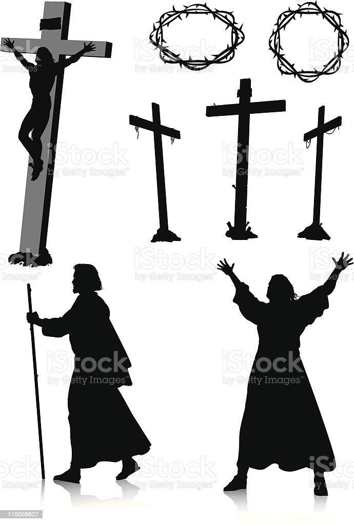 Easter silhouettes vector art illustration