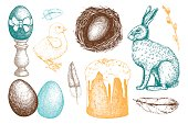 Vector collection of hand drawn Easter illustration on chalkboard