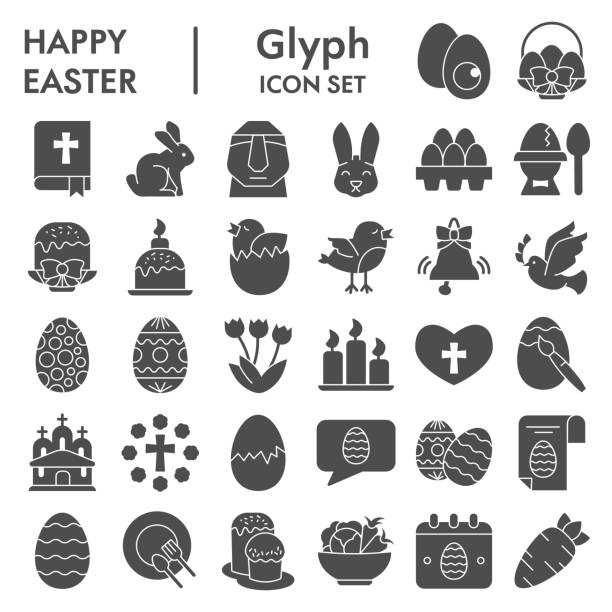 Easter solid icon set, Happy spring holiday symbols set collection or vector sketches. Easter signs set for computer web, the glyph pictogram style package isolated on white background, eps 10. Easter solid icon set, Happy spring holiday symbols set collection or vector sketches. Easter signs set for computer web, the glyph pictogram style package isolated on white background, eps 10 holiday and seasonal icons stock illustrations