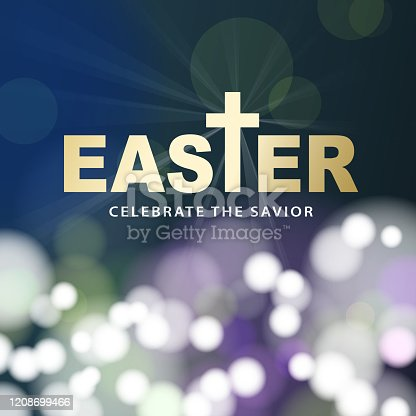 The Easter celebration for the resurrection of Jesus Christ with gold colored typography on sparkling lights background