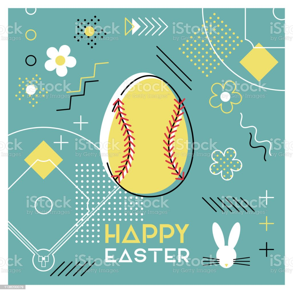 Happy Easter. Greeting card with Easter egg as a softball ball....