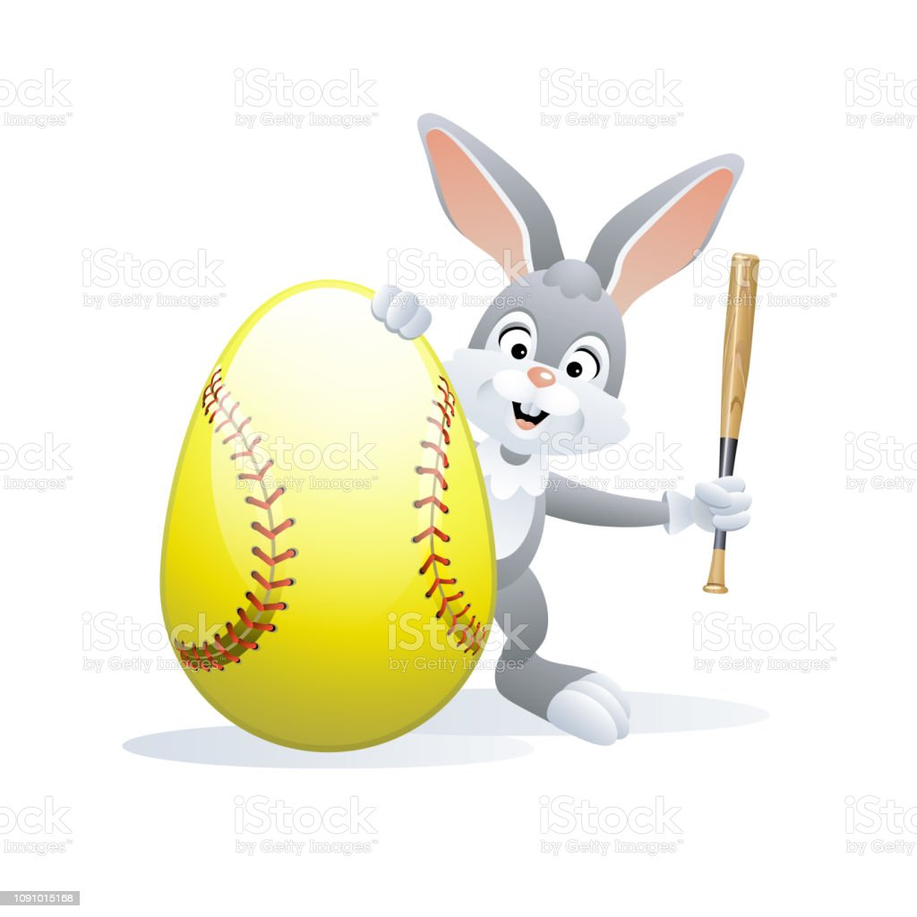 Easter sports greeting card. Cute Rabbit with Softball Egg and bat....