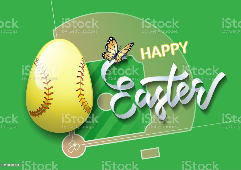 Happy Easter. Easter egg in the form of a softball ball on a softball...