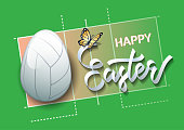 Happy Easter. Easter egg in the form of a volleyball ball on a volleyball court background. Vector illustration.