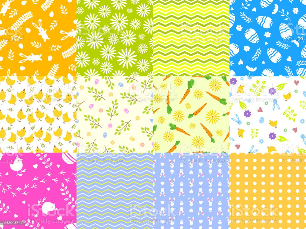 Easter Spring Vector Seamless Pattern Background