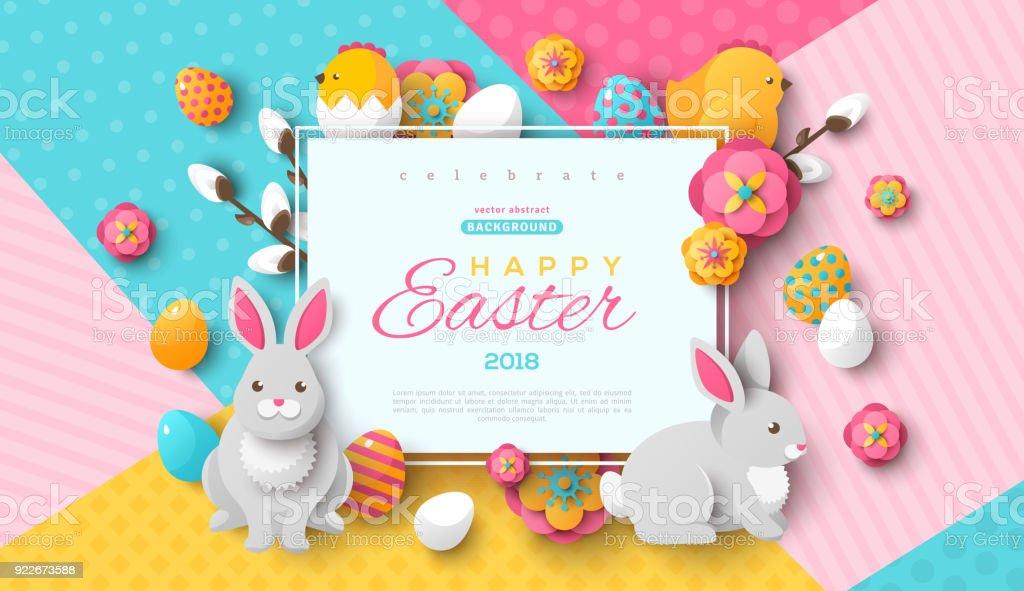Easter square frame vector art illustration