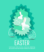 Happy Easter scene with  eggs and rabbits.  Concept for banner, flyer, invitation, greeting card, holiday backgrounds.