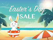 Easter summer sale,bunny on the beach.