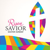 To celebrate the resurrection of Jesus Christ from the dead on Easter Sunday with the cross on the stained glass effect