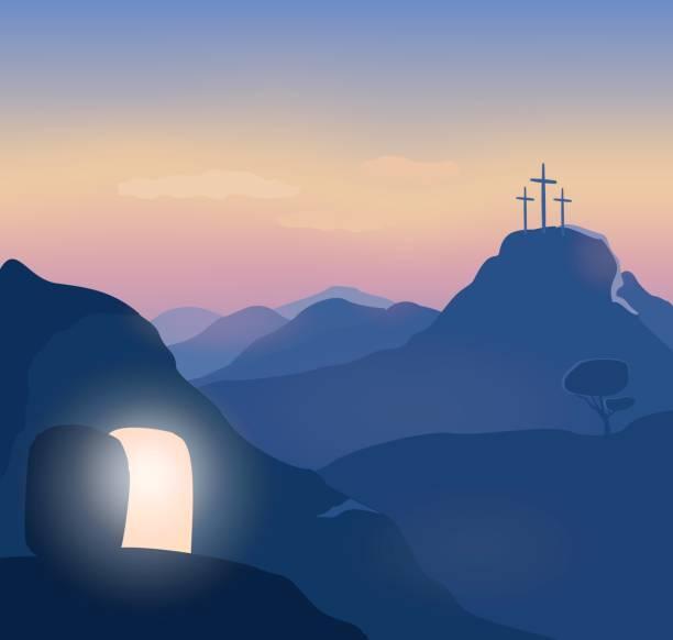bildbanksillustrationer, clip art samt tecknat material och ikoner med påsk söndag morgon landskap illustration. - grav