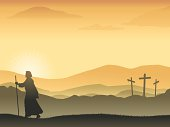 Vector art of scene depicting the first Easter morning. Art is conveniently grouped and layered, vector elements are complete and can be repositioned  if needed.