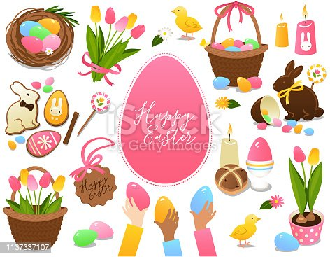 Easter symbols and treats set isolated on a white background