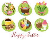 Easter symbols and treats, eggs, tulips, chicks, Easter bunny, candy.