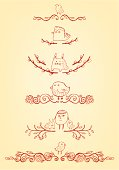 Vector file of set of Easter theme scrolls