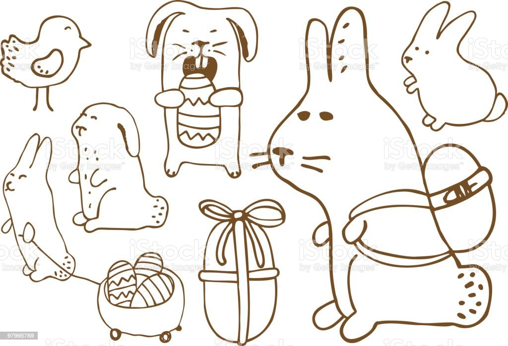 Easter theme doodles royalty-free easter theme doodles stock vector art & more images of animal