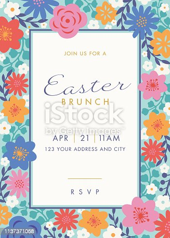 Easter themed invitation design template - Illustration