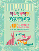 Vector illustration of an Easter themed design template. Lot's of texture. Includes bunny silhouette, ribbon, eggs and sample text design. Download includes Illustrator 8 eps, high resolution jpg and png file.