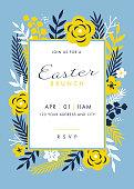 Easter themed invitation design template - Illustration
