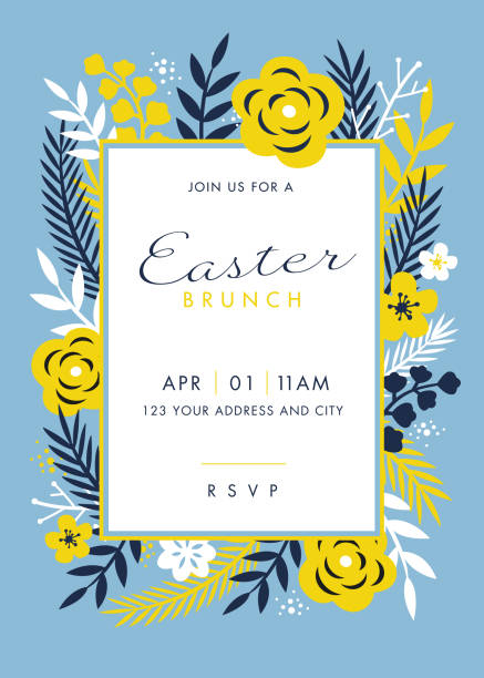 Easter themed invitation design template Easter themed invitation design template - Illustration brunch stock illustrations