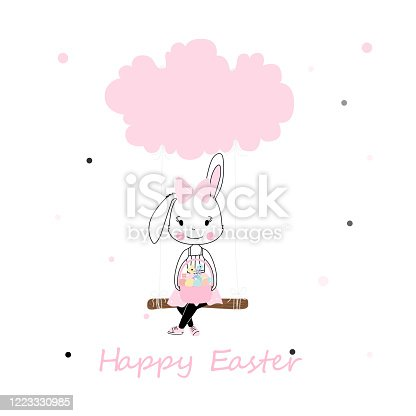 Easter themed kids characters. Cute little ribbon hold basket of eggs girl in pink with swinging on a cloud cartoon style.. eggs hunt, Colourful Easter graphics. t-shirt print, poster vector design