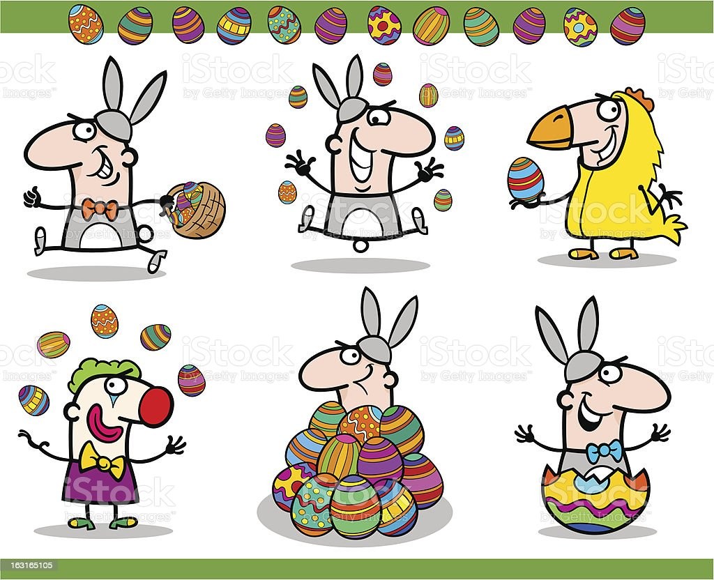 easter themes set cartoon illustration royalty-free stock vector art