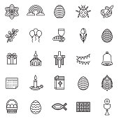 Easter Thin Line Icon Set