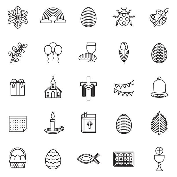 Easter Thin Line Icon Set A set of 25 thin line icons in a contemporary style. The vector EPS file is built in the CMYK color space for optimal printing. bread clipart stock illustrations