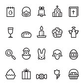 Easter Thin Line Icons