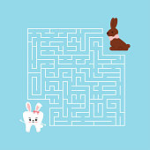 Easter tooth kids maze game. Help white teeth girl with bunny ears to find right way to easter chocolate rabbit candy in labyrinth. Vector flat design dental kid puzzle illustration in cartoon style.