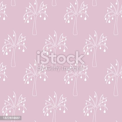 istock Easter tree. Drawing with white lines. Seamless horizontal border. Repeating vector pattern. The plant is decorated with Easter eggs. Isolated delicate background. Endless ornament. 1322816551