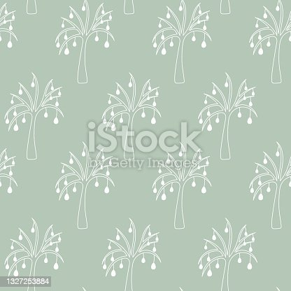 istock Easter tree. Drawing with white lines. Seamless ornament. Repeating vector pattern. The plant is decorated with Easter eggs. Isolated delicate background. 1327253884