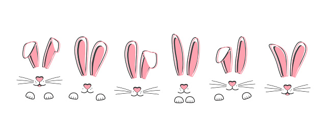 Easter vector bunnies hand drawn, face of rabbits. Cute ears and muzzle with whiskers, paws