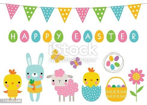 Easter vector cartoon characters