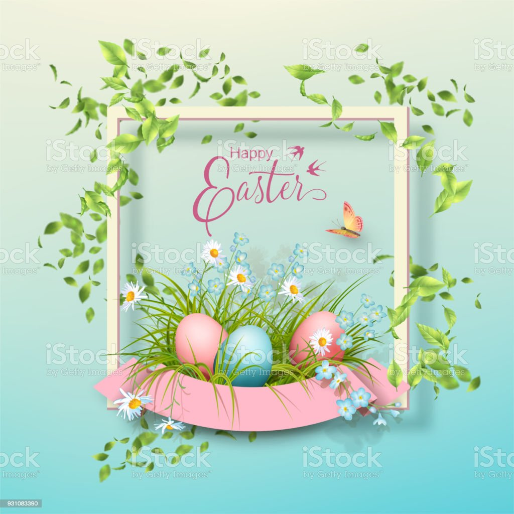 Easter Vector Frame Stock Vector Art & More Images of Abstract ...