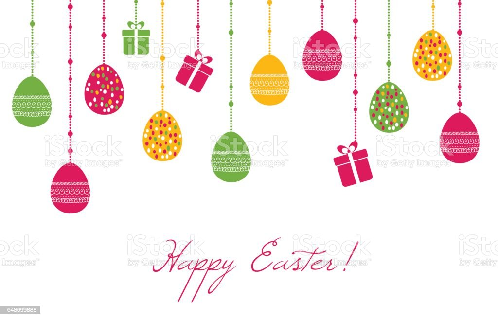 easter vector greeting card with hanging eggs stock vector art rh istockphoto com easter vector graphics free download easter vector free download