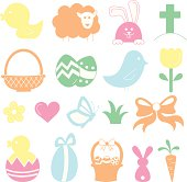 Set of illustrated vector icons representing Easter in soft pastel colours.