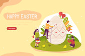Happy people decorate Easter egg. Can use for web banner, greeting cards, backgrounds. Flat isometric vector illustration isolated on white background.