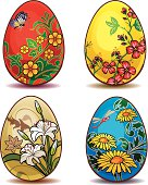Four type of painted Easter eggs. In CMYK mode, ready for printing.