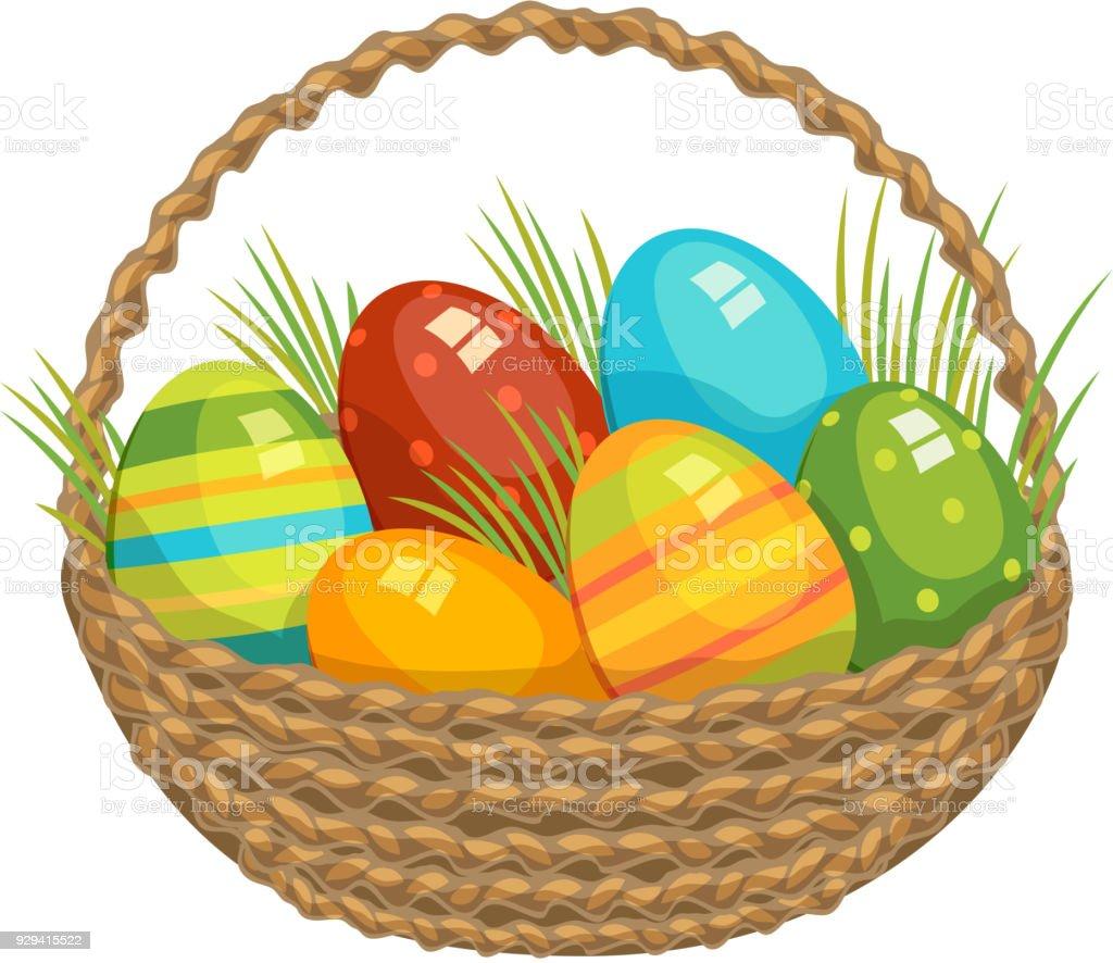 Easter vector illustration basket with colored eggs and green grass easter vector illustration basket with colored eggs and green grass holiday celebration illustration kids baby m4hsunfo Images