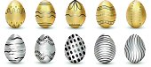 Easter. Vector illustration, golden and silver eggs isolated on white background with shadow. Easter eggs
