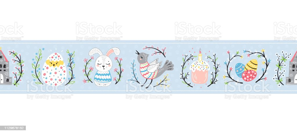 Easter Vector Seamless Pattern Banner Or Border Spring