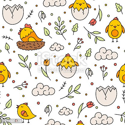 istock Easter vector seamless pattern with chickens and flowers 1311431613