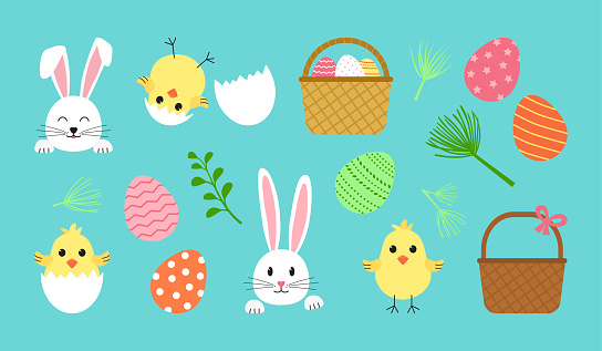 Easter vector set, cute spring icon. Cartoon bunny, egg, rabbit, basket, chick with shell