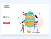 Easter vector website template, web page and landing page design for website and mobile site development. Micro male and female characters decorating huge Easter egg, preparing for holiday celebration