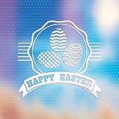 Easter vintage label on blured background.
