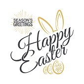 Easter Vintage Lettering With Bunny Background 8 eps