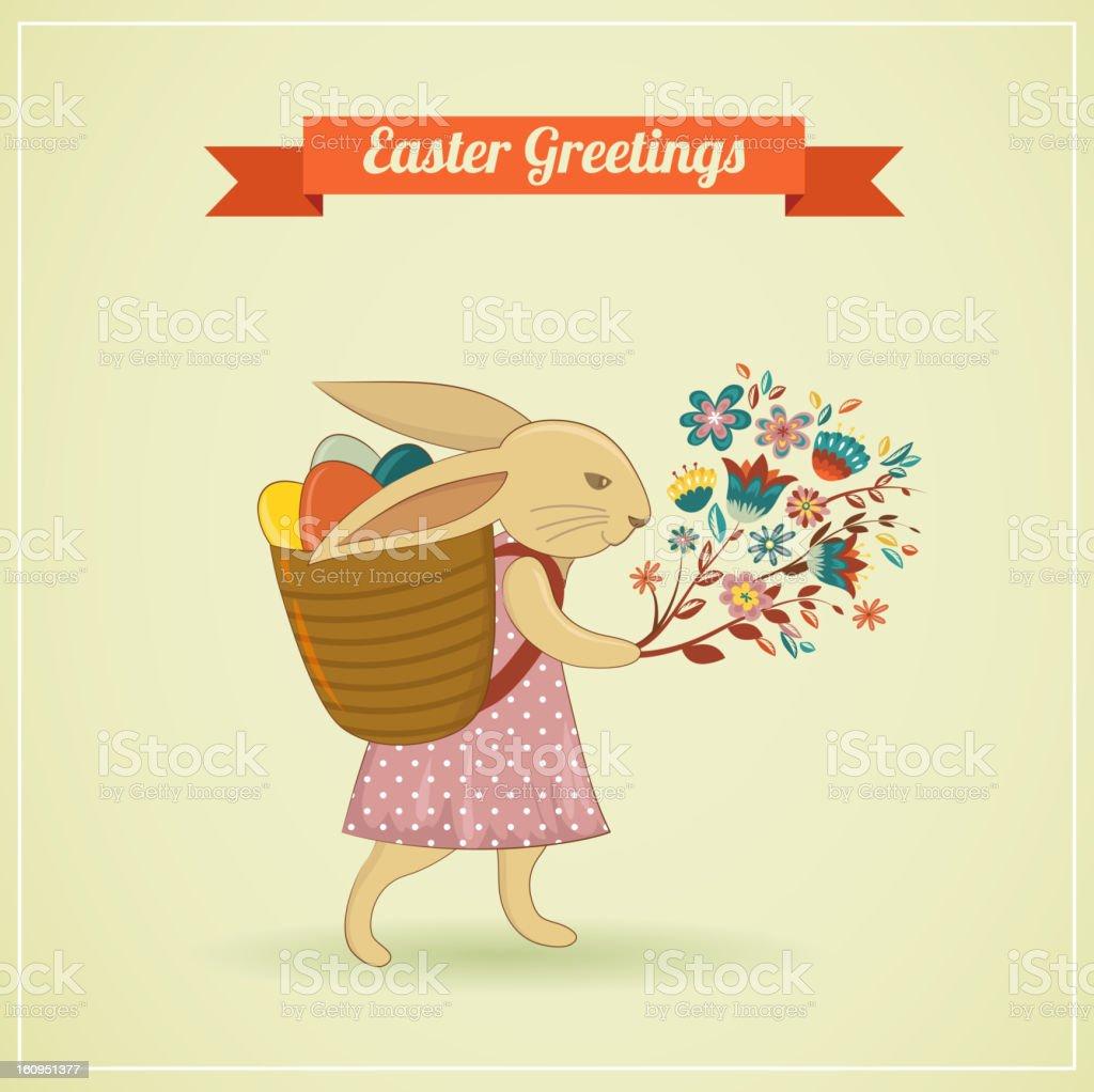 Easter vintage style greeting card vector art illustration