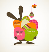 Easter greeting card with bunny and eggs