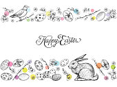 Easter vintage vector banner. Hand drawn illustrations of bunny, festive eggs, spring flowers. Happy Easter calligraphy and decorative background.
