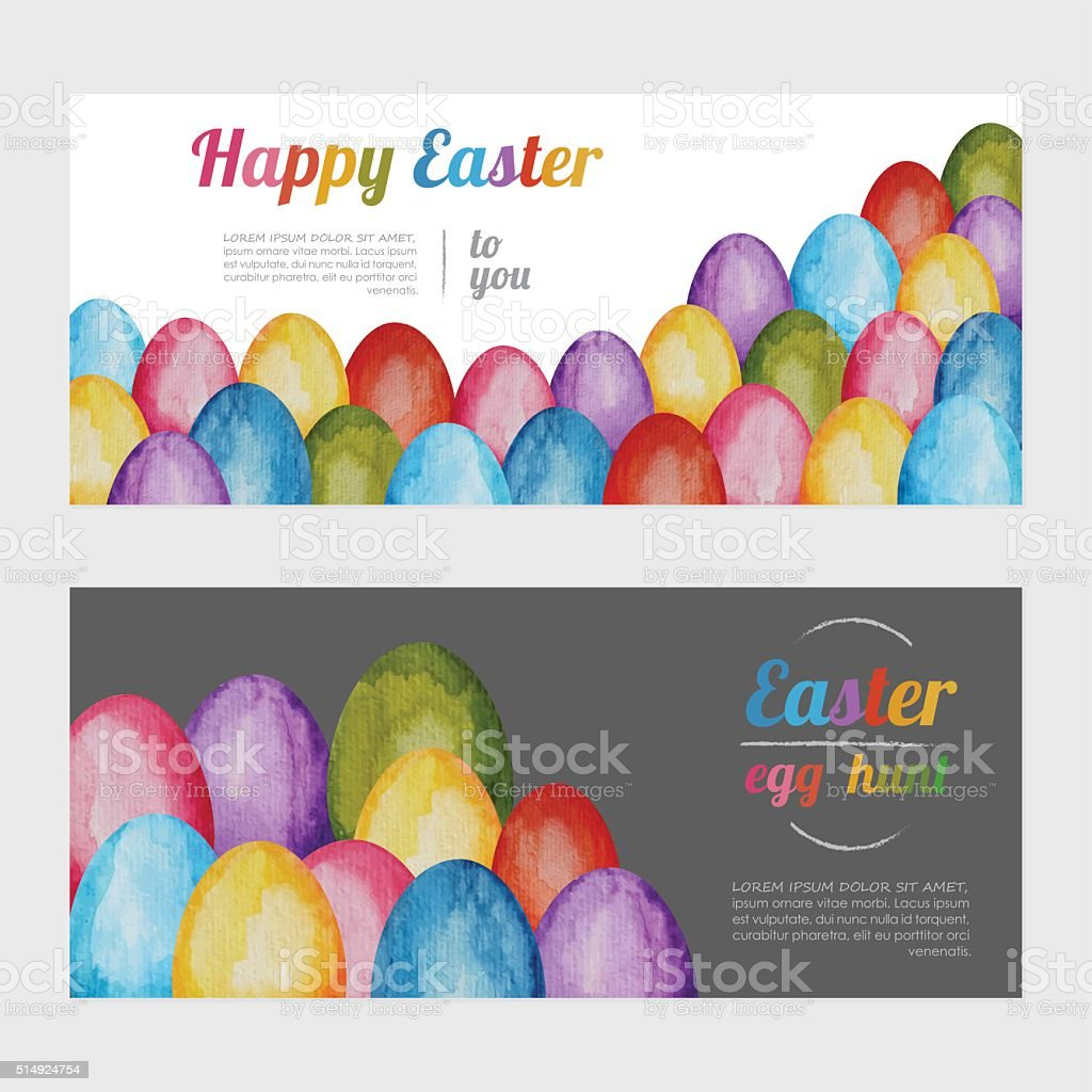 Easter Watercolor Banners vector art illustration